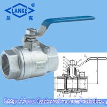 2PC Stainless Steel 304/316 Female Ball Valve for Industry Use