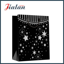 Papier Kraft noir Hot Stamping Stars Shopping Gift Paper Bag