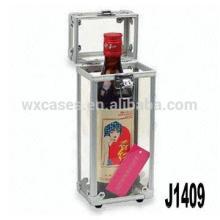 Nouvelle arrivée! boîte cadeau vin professionnel en aluminium pour une seule bouteille