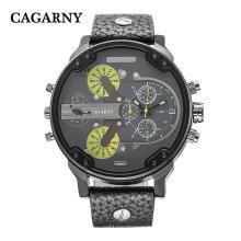Cagarny 6820 Black Case mit Lederband Braun und schwarzem Armband Quarzwerk