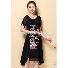 OEM nuevos diseños al por mayor de las damas nuevo modelo casual O-cuello negro vestidos para las mujeres
