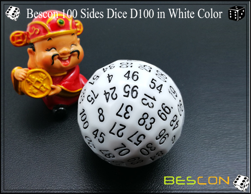 Bescon 100 Sides Dice D100 in White Color-1