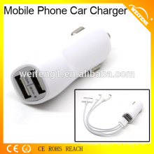 High quality mobile phone usb battery charger with dual usb port in car used