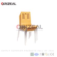 Cómodo diseño de contrachapado muebles apilable más barato de acero inoxidable silla de comedor de madera doblada precio más bajo