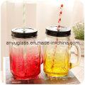 Taza / taza de cristal para beber con la tapa, tarro de albañil