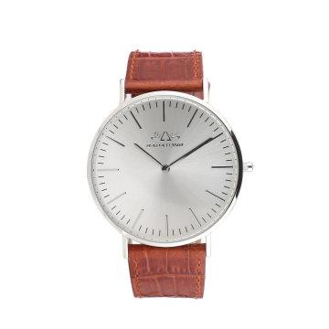 Montre-bracelet en cuir pour homme en acier inoxydable