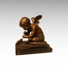 Statue de figure d'enfant Angle Coupe de bronze Cupide TPE-918