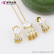 Xuping Fashion Popular Charming 14k Gold-Plated Zircon Costume Jewelry Set -63446