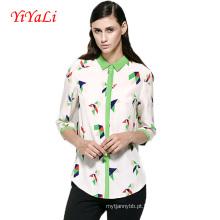 Mulheres por atacado blusa verão moda impressão camisas de mulheres.