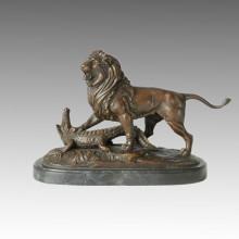 Statue animale Lion & Crocodile Fight Bronze Sculpture, E. Delabrierre Tpal-156