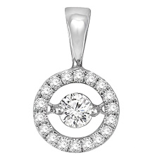 Jóias de pingente de prata Round 925 com diamante de dança