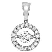 Круглые 925 серебряных подвесных ювелирных изделий с танцующим бриллиантом