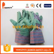 Зеленые ПВХ перчатки с полосой сзади (DGP104)
