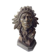 Buste Bronze Sculpture Indiens Chefs Métal Artisanat En Laiton Statue Tpy-922