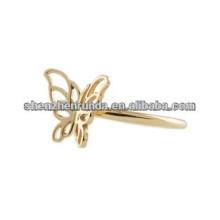 Anel de borboleta design anel banhado a ouro para as mulheres