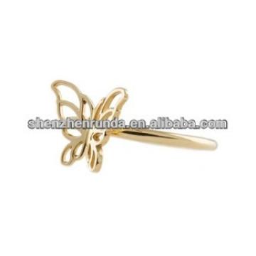 Mariposa diseño anillos chapados en oro para las mujeres