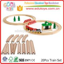 Conjunto de trem de madeira básico de Beech de 20 peças para diferentes sistemas ferroviários
