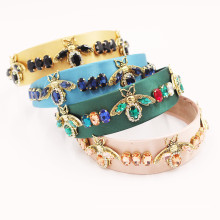 Bandeau fascia per capelli Vintage Colorful Stone Gem Bee Headband Luxury Hair Accessories French Baroque Hairband for Women Girl Dropshipping Wholesale