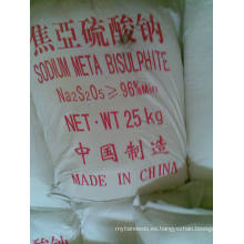 Metabisulfito de sodio con certificado ISO, grado alimenticio 97%