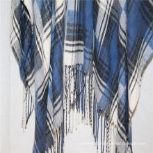 custom plain big size shawl navy blue checked design fringe on two side super soft hand feeling cappa