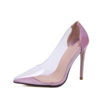 new arrival custom logo ladies shoes low moq transparent clear pvc stiletto heel ladies pumps