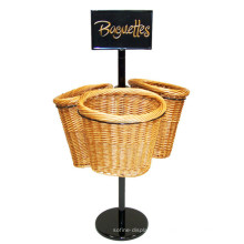 Custom Logo Freestanding Metal Portátil Basket Baguettes Tienda de pan y panadería unidades de visualización