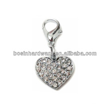 Fashion High Quality Metal Heart Rhinestone Pendant Charm