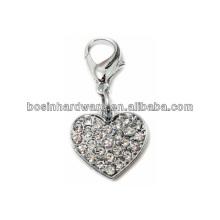 Мода Высокое качество Металл Сердце Rhinestone Подвеска Шарм
