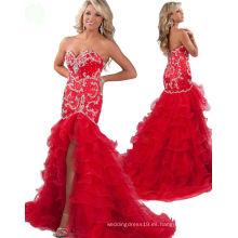 Vestido de noche rojo del vestido de partido del vestido del desfile del desfile del amor de la sirena con los Rhinestones cristalinos RO11-15