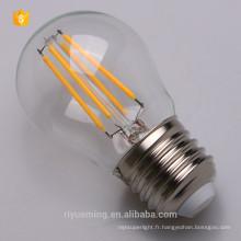 Zéro UV émission G45 filament lampe led blanc doux 3000K
