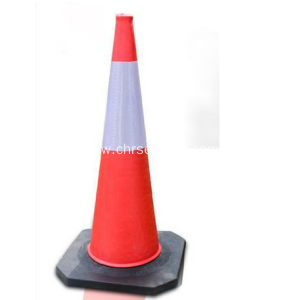 Road safety red pvc traffic cone with reflective tape