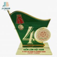 Free Sample Alloy Green Enamel Promotion Medal Trophy for Souvenir