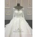 Ivory 3D Blume Elegant Hand Made Ballkleid V-Ausschnitt mit langen Ärmeln Hochzeitskleid