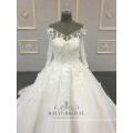 Ivoire 3d fleur élégant fait à la main robe de bal col V manches longues robe de mariée