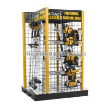 Hardware de venta al por menor 4-Way colgante personalizado de metal marco suelo de jardinería Power Tool Display Stand