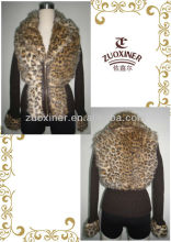 Ladies leapord print fur jacket