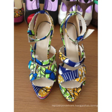African Printed Fabric Peep Toe Sandal Shoes (HCY02-260)