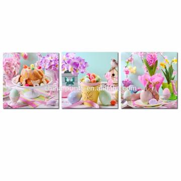 Arte de la pared de la decoración de la habitación de los niños / cartel feliz de Pascua / decoración casera al por mayor de la lona