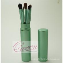Ensemble de brosse à maquillage synthétique 5PCS avec étui à tube vert