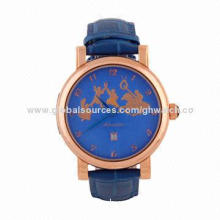 High-quality Automatic Watch, Stainless Steel Case/Leather Strap and Case-back/Blue Dial