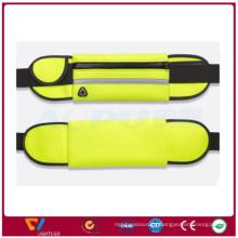 Hot sale customize Fluorescent color reflective light zipper jogging running lycra waist belt bag