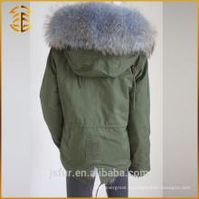 Vente en gros manteau à capuchon vert coloré à capuche manteau à fourrure Parka