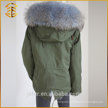 Venda Por Atacado Colorful Green Bomber Hooded Coat Overcoat Fur Parka