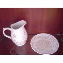 Tarro de leche pintado a mano de cerámica