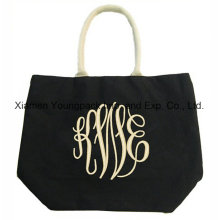 Fashion Rope Handle Black 12oz Cotton Canvas Carrier Tote Bag