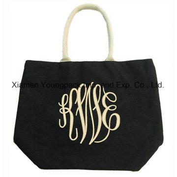 Fashion Rope Handle Black 12oz Cotton Canvas Carrier Tote Bag