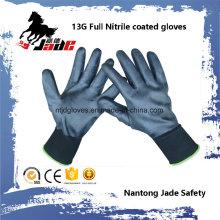 13G Nitrile negro completo guante recubierto liso