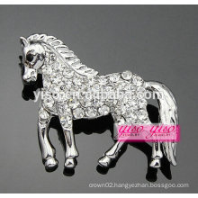handsome clear CZ stone horse animal brooch jewelry
