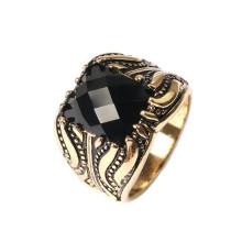 Anel da jóia do ouro de Saudi 24k Diamante Único Anéis de pedra do anel