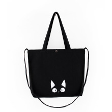 2021 Eco-Friendly Accept Customized Logo Black Handbags Cotton Bags Recycled Tote Canvas Bag with Adjustable Crossbody Strap